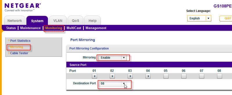 Port Mirroring Screenshot