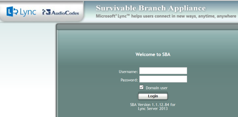 How your AudioCodes SBA login pages should look, as of May 2016