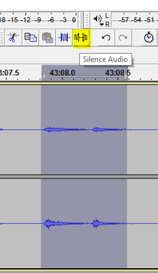 Coughing during otherwise silent period. Note the two pulses with inflection at beginnings. Simply silence this.