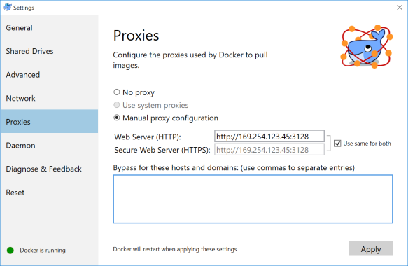 Docker for Windows behind a corporate web proxy: tips and