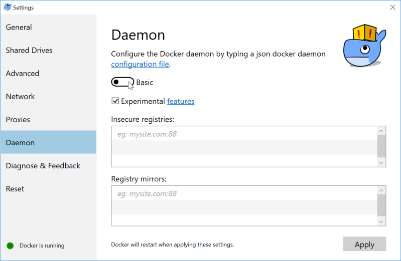 Docker Daemon screen before daemon.json editing is enabled